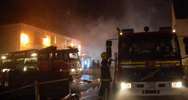 12 fire appliances were called to the first fire at Hockley & Brook Cottages, 2009.