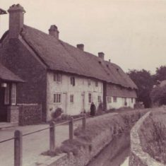 Probably taken in the 1930s, what are now Hockley and Brook Cottages are passed by an extremely narrow River Meon.