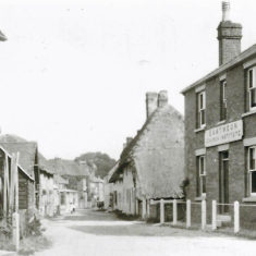 Church Institute with High Street, pre 1910. Cross house and Aburrow's wheelwright workshop on left