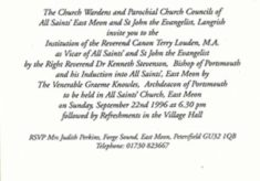 Invitation to the institution pf Rev. Terry Louden as Vicar of All Saints