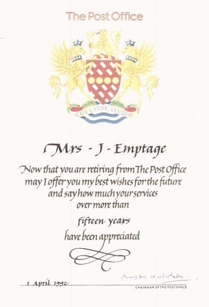 Jean Emptage Retirement Certificate