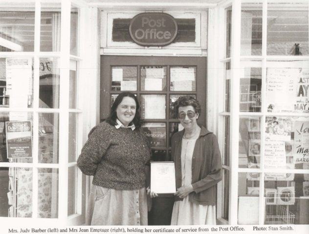 Jean Emptage with retirement certificate, and Judy Barber
