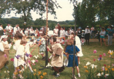 Maypole dancing at the Church fete