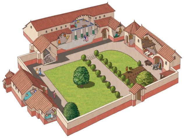 3D recreation of Stroud Roman Villa, excavated in 1907 and probably the home of a British farmer. Aisled hall and nine rooms in main building, both house to west, animal shelters and hay store to east.  | Julian Baker