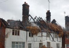 Roof of Brook Cottage after Fire