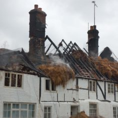 The aftermath  of the second thatch fire at Hockley & Brook Cottages, March 2013. | Michael Blakstad