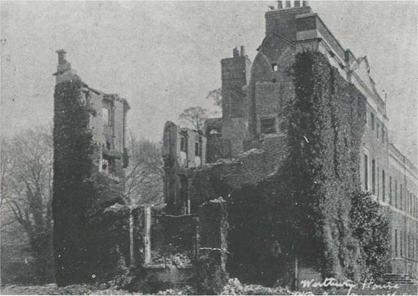 Westbury House after the fire of November 1904; the Times reported the gallantry of Le Roy-Lewis in rescuing members of the household staff.