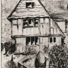 Tudor House engraving by Tricia Blakstad, 1994