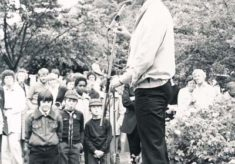 Simon Williams opening a church fete