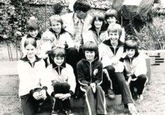 Simon Williams with school pupils
