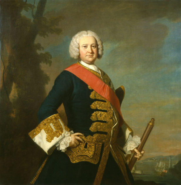 Portrait of the Admiral of the Blue, who became fabulously wealthy through bounty captured on the high seas and by marryiing into a rich New York family. | Thomas Hudson