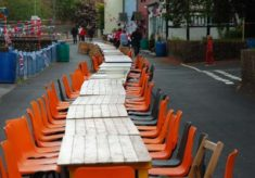 Tables laid out for the Diamond Jubilee Picnic