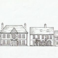 Sketch of Brooklyn  (centre), Glenthorne (left) and Clare and Francis cottages by Tricia Blakstad for village guide leaflet, 1982   Tricia Blakstad