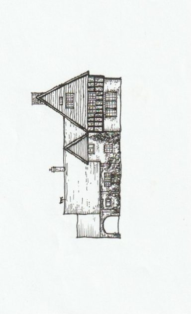 Drawing of Tudor House by Tricia Blakstad