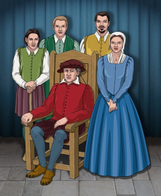 recreation of the family of Nicholas Wright (seated) L tp R. His eldest son, Nicholas, who was sickly and did not survive his father by long, the youngest son Robert, John, who inherited most of his father's estate, and Elizabeth, the daughter.