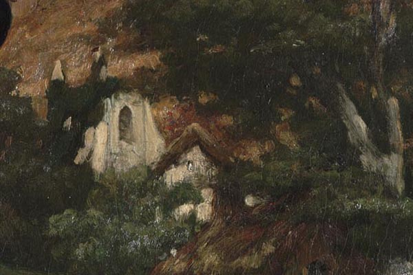 The Kimbell Museum asked E<HG to help locate where Leighton had tinted the portrait of May Sartoris. This detail shows what must have been West Meon church before it, too, was burned down in the early 20th century.