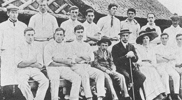 Herman Le Roy Lewis and his wife and son seen with the cricket team in 1901.