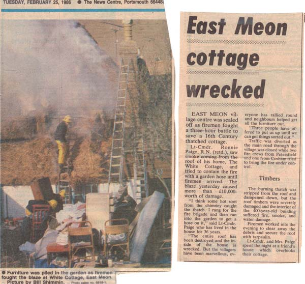 February 1996, the thatch at The White cottage caught fire. It was occupied by Commander Ronald Page; villagers helped him evacuate his furniture. |  Portsmouth News