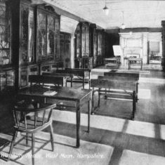 Le Roy-Lewis put Westbury House on the market in 1918, and in 1924 it became a boys; school, This shows a study facility in the magnificent library.