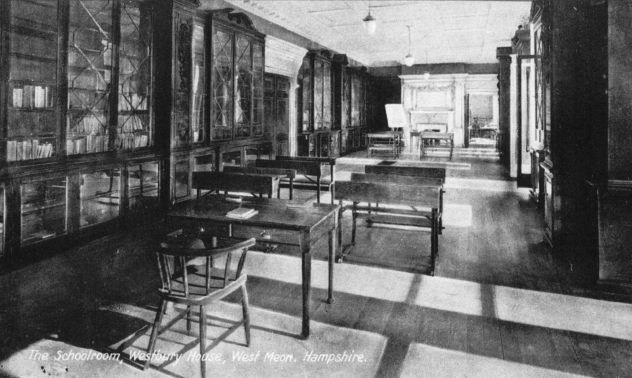Le Roy-Lewis sold Westbury House in 1918, after which is became a boys; school, This shows a study facility in the magnificent library.