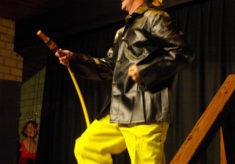 Gideon as a fireman at East Meon's Got Talent