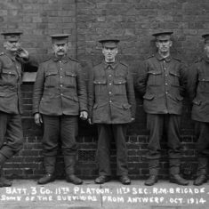 Owen Budd, fourth from the left, 1914, with 12th Battery, 11th platoon, 3 company, Second RMLI Brigade - survivors from Antwerp