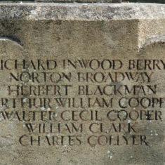 Names of WWI fallen on War Memorial, B - C