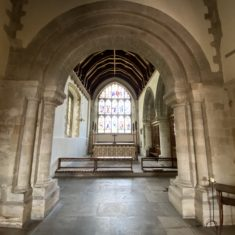 Photographed in April 2020 during the coronavirus lockdown, this shows one of the romanesque arches of the 12th century transept. RG.   Richard Gaisford