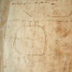1567 surveyor's sketch map of mill in East Meon Hundred.The text reads: Myle pond, river, the lug, well. Assheford set all over, Forcombe John Cooper Robert Sharp, Aldersnape Myle pond, river, the lug, well. Assheford set all over, Forcombe John Cooper Robert Sharp, Aldersnape set over