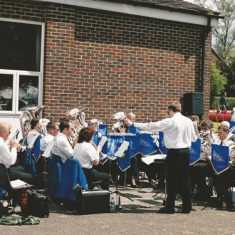 Blendworth Brass Band outside Village Hall, 2001