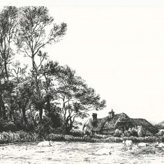 Engraving by Robert Brydon of Lower Farm, 1905