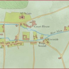 Copnjectural map of Elizabethan East Meon with modern house names