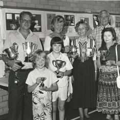 Annual  Show winners, 1980s L to R, back row, Keith Kitcher, Susan Hull, Molly Dicker, Adrian Pelly, front row, Lisa Kittcher, Claire Wilkinson, Bun Roper | Stan Smith