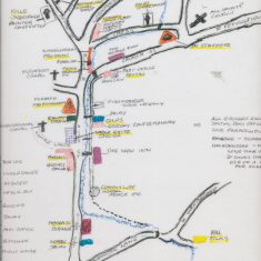 Margery Lambert drew this map in 2007 of the location of shops and workshops in East Meon in the 1920s