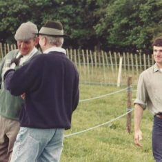 Michael Atkinson with Mark Rogerson, George Atkinson and baby