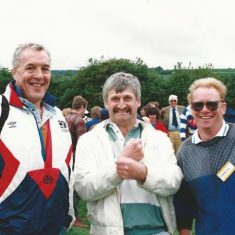 Scots rugby international Alastair McHarg with Roger Young and Keith Kitcher. Rory Bremner then lived in the village and invited members of the Scottish rugby team to Jon a guest tug-of-war team.(1994)