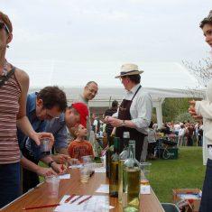David Parkinson and Sophy supervising wine tasting